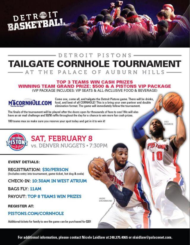 Detroit Pistons Conrhole Tournament Flyer