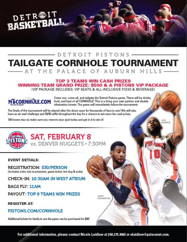 Detroit Pistons Conrhole Tournament Flyer
